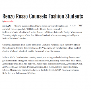 WWD Renzo Rosso FAshion Students