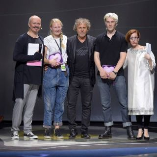 Renzo Rosso with Niels Gundtoft Hansen and Anna Bornhold at the ITS